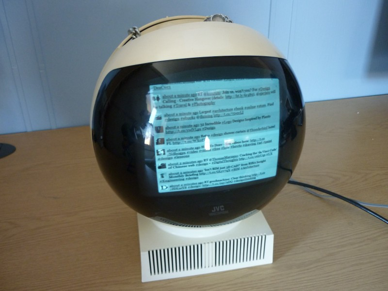 JVC Video Sphere TV Showing a Twitter Feed