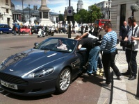 Filming the Aston Martin DB9 in Trafalgar Square Hire