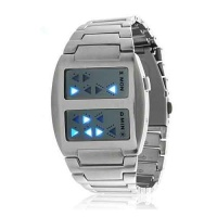 Watches & Clocks Blue Binary LED Wrist Watch