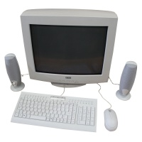 Office Equipment Office Screens and keyboard setup (White CRT)
